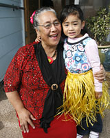 Maile Loloa can practice teaching with granddaughter Sepa. Photo / Glenn Jeffrey